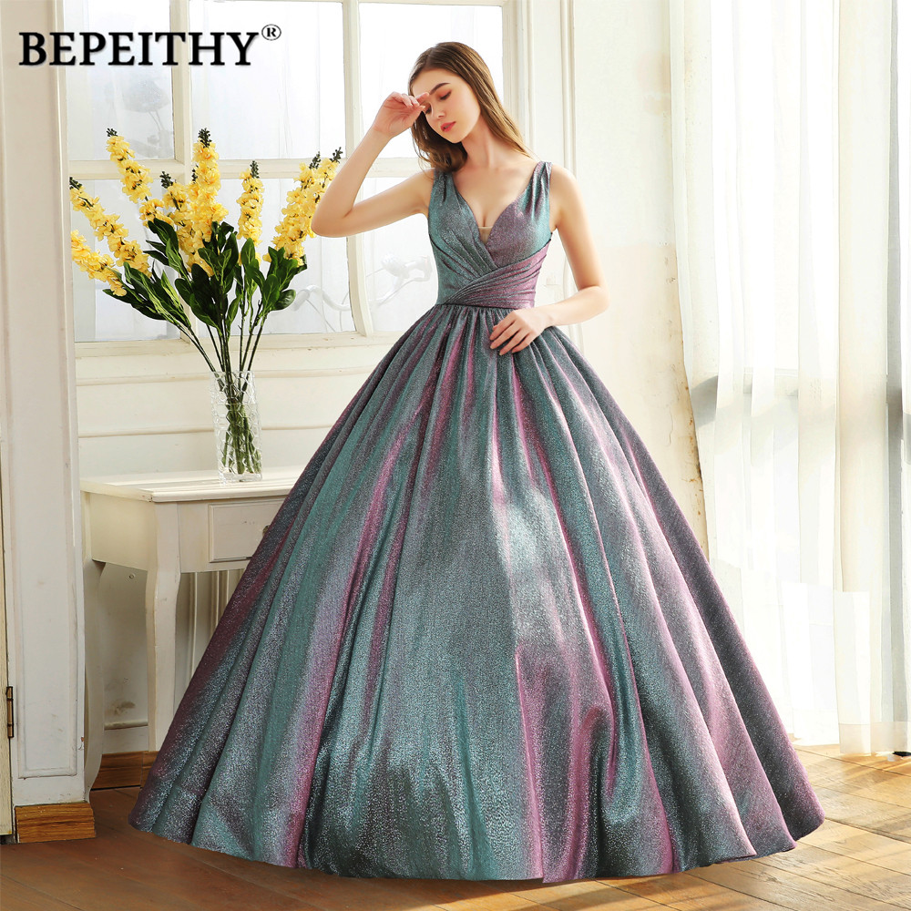 BEPEITHY Simple V Neck Glitter Long Prom Dress Ball Gown Vestido De Festa Sparkle Evening Party Gown 2020