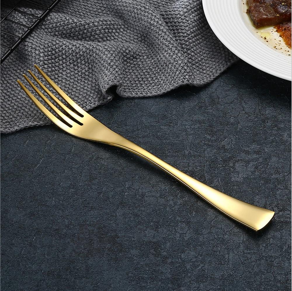 Купить с кэшбэком Hot Sale 4 Pcs/set kaya pure gold color Dinnerware knife 304 Stainless Steel Western Cutlery Kitchen Food Tableware Dinner set
