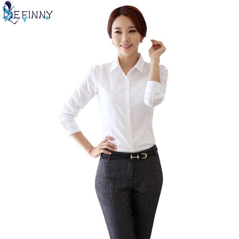 EFINNY Women   blouse     shirt   Work wear Long Sleeve   Blouses   White   Shirts   Slim Women's blusa Ladies sleeve   shirt   Tops