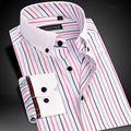 Brand High Quality Colored Striped Shirts Bamboo Fiber Long Sleeve Men Casual Shirt Male Business Formal Dress Shirts