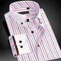 Marca de Alta Qualidade Colorido Listrado Fibra De Bambu Camisas de Manga Longa Homens Camisa Casual Masculino de Negócios Formal Camisas de Vestido