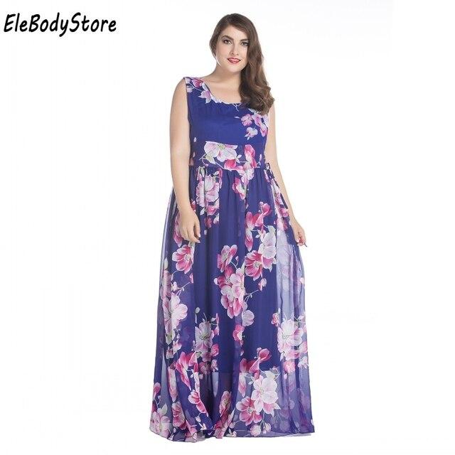 a6309b7ea00 ELEBODYSTORE New 2017 Plus Size Women Casual Summer Long Maxi Dress Chiffon  Woman Floral Print Dresses