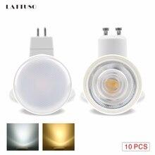 LATTUSO 10pcs LED Light Bulb Spotlight MR16 GU10 6W AC 220V COB Chip Beam Angle 24 120Degree For Table Lamp