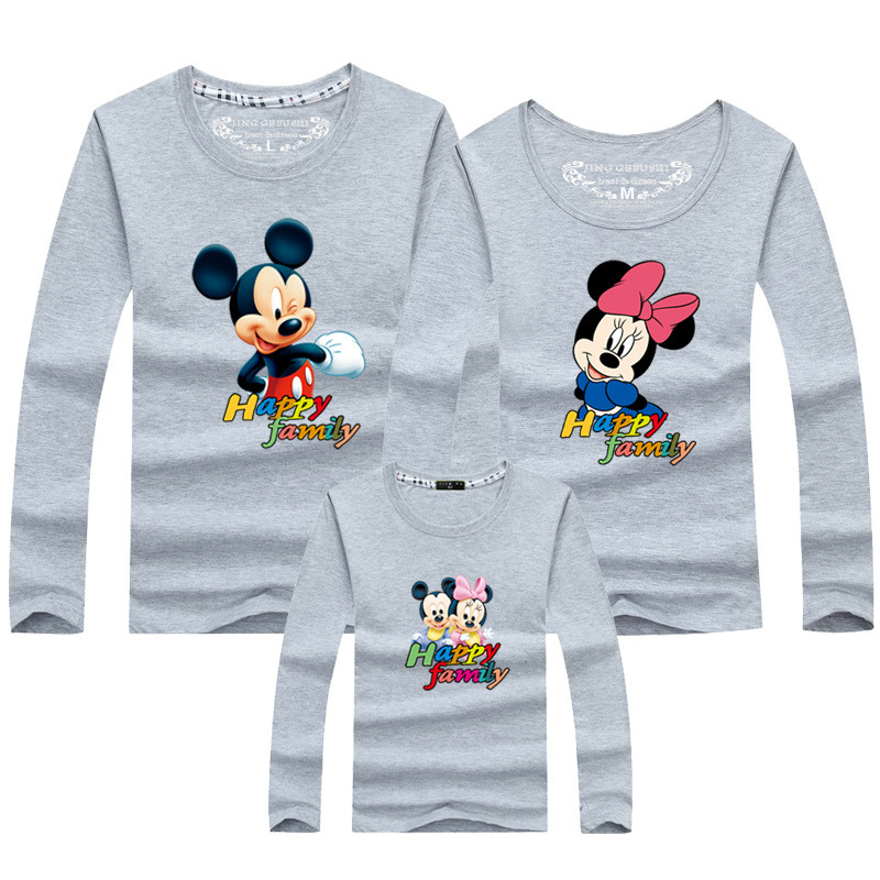 2019 Neuestes Design Jargazol Passenden Outfits Langarm T-shirts Cartoon Mickey Minnie Gedruckt Mama Und Mich Kleidung Familie Aussehen Papa Sohn Tochter Ausreichende Versorgung