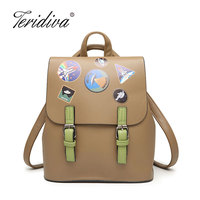 Teridiva New Fashion Women Backpack Youth Vintage Leather Backpacks For Teenage Girls New Female School Bag