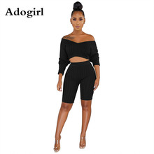 цена на Adogirl Women Knitted Ribbed 2 Piece Set Sexy Off The Shoulder V Neck Long Sleeve Crop Top + High Elasticity Knee Length Pants