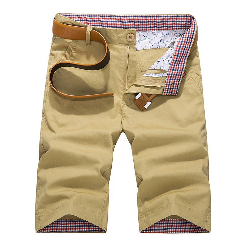 Cotton Shorts Bermuda Slim-Fit Knee-Length Breathable Male Summer Casual Mens Fashion-Brand