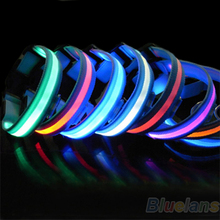 2015 New New Glow LED Dog Puppy Pet Night Safety Collar Flashing Light Up Collar Blue Nylon 7 Colors 1N37 58WA