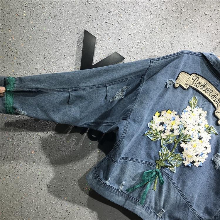 Vintage High Denim Veste Mode Trou Street Printemps Floral Femme A859 Automne Manteau À 2019 Longues Manches Femmes tBwRUpvnqx