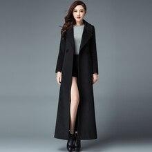 2016 Winter New Fashion Ultra Long Women's Jacket Coat Solid Color Slim Elegant Female Overcoat Plus Size Double Breasted Coats