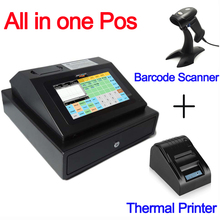 IPCR004 Free Software All in One POS Machine Touch Screen Cash Register include Drawer+Thermal printer+Barcode Scanner