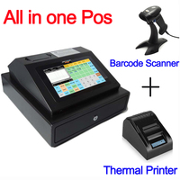 IPCR004 Free Software All in One POS Machine Touch Screen Cash Register include Cash Drawer+Thermal printer+Barcode Scanner