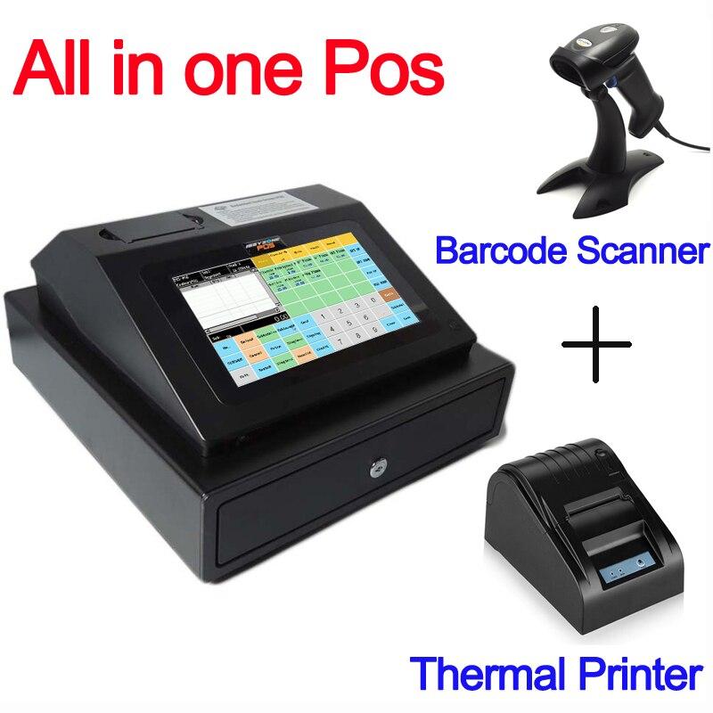 IPCR004 logiciel gratuit tout en un POS Machine écran tactile caisse enregistreuse comprend tiroir-caisse + imprimante thermique + Scanner de codes à barres
