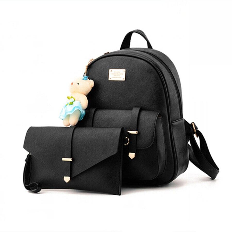 где купить  COOL WALKER New Women Leather Backpacks Fashion Designed Brand Backpack School Bag Women Casual Style Backpacks + Small Bags  по лучшей цене