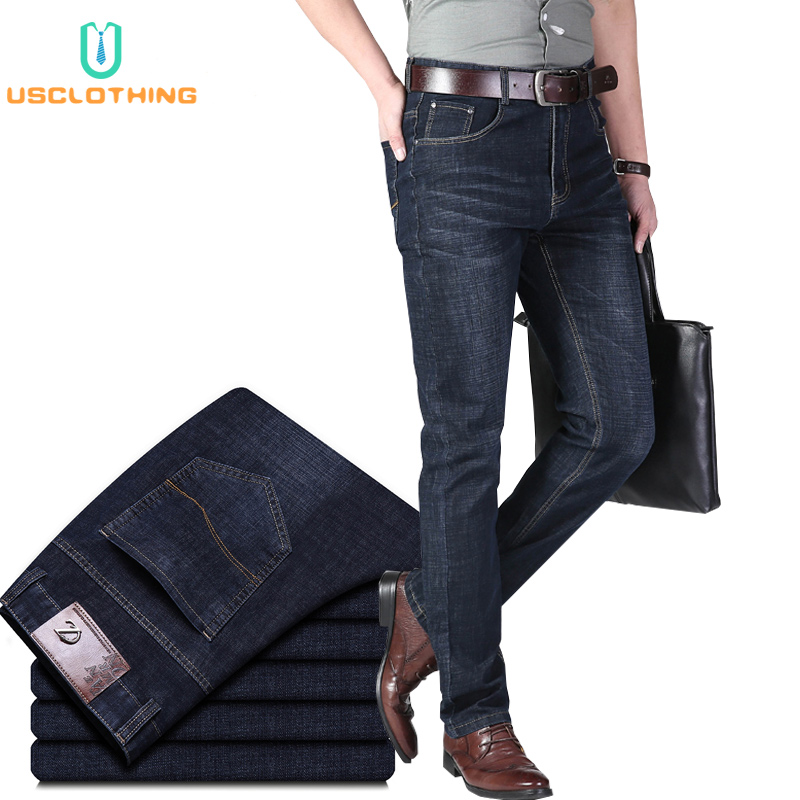 New Mens Jeans Cotton Classic Business Casual Straight Stretch Jeans Black Blue Male Denim Pants Skinny Jeans Men Overalls 40 42
