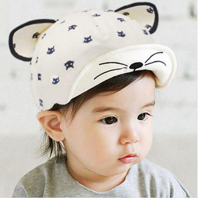 90907ded73c Spring Sun Hat Girl Boy Caps For Kids Baby Cat Ear Cartoon Baseball Cap  Baby Boy