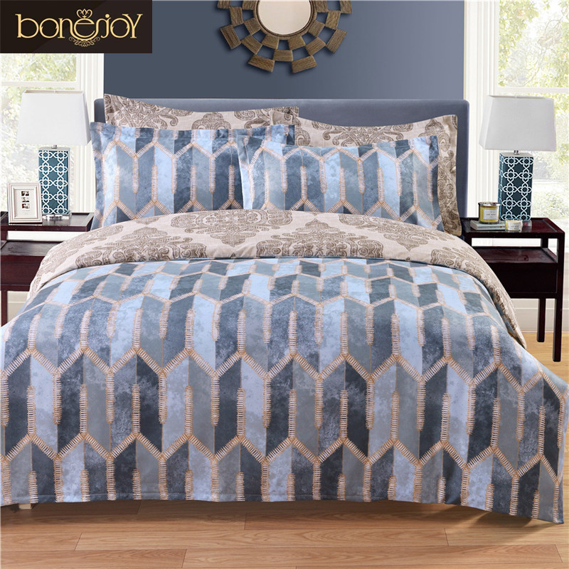 Jacquard Printed Europe Style Twin Queen King Bed Sheet Brown High Quality Set Edredon Duvet Cover Plaid