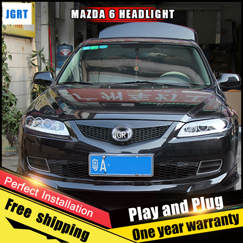 2PCS Car Style LED headlights for Mazda 6 2003-2014 for Mazda 6 head lamp LED DRL Lens Double Beam H7 HID Xenon bi xenon lens hireno headlamp for 2003 2009 toyota land cruiser prado headlight assembly led drl angel lens double beam hid xenon 2pcs