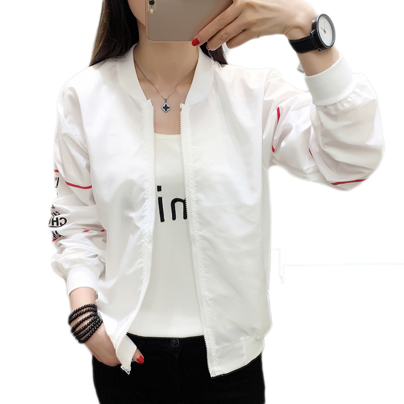 Fashion   basic     jackets   Summer Women Bomber   Jacket   Long Sleeve   Basic   Coat Casual Thin Slim Outerwear Short Pilot   jacket   coat women