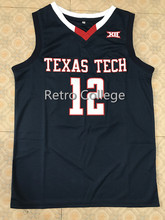 1ef790132  12 Keenan Evans Texas Tech College BASKETBALL JERSEY Men s Stitched  Throwback College jerseys Custom any