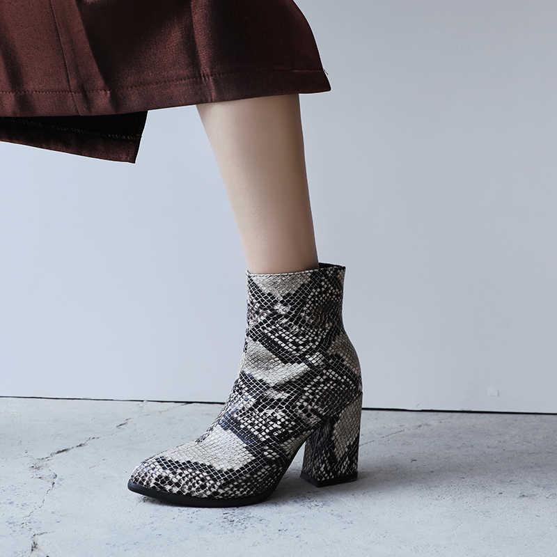 Ins ผู้หญิงข้อเท้ารองเท้า Snakeskin รูปแบบฤดูหนาวรองเท้าผู้หญิง plus ขนาด 22-26.5 ซม. ยุโรปและอเมริกาผู้หญิงรองเท้า