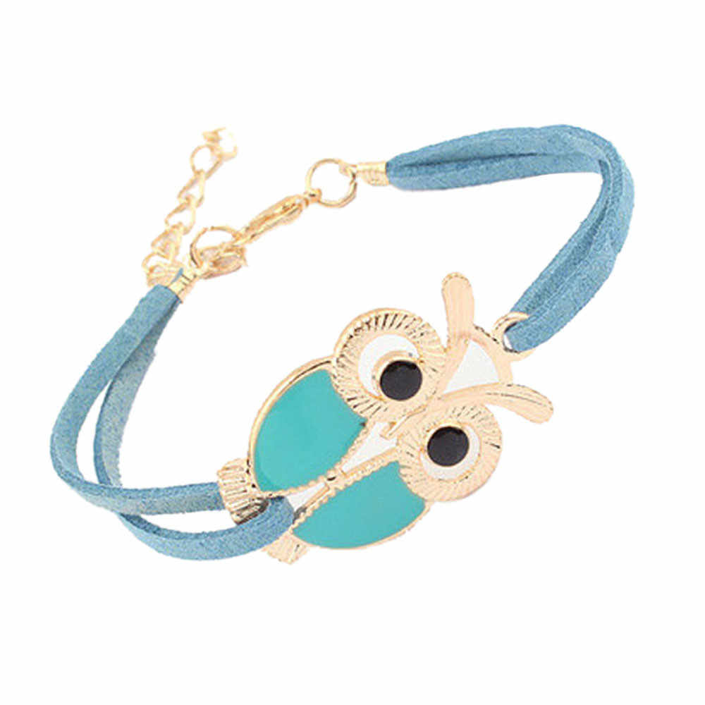 Fashion Dames Meisjes Armbanden Vintage Uil Decoratie Polsbandje Faux Lederen Armbanden Vlekkeloze Sieraden Accessoires Armband