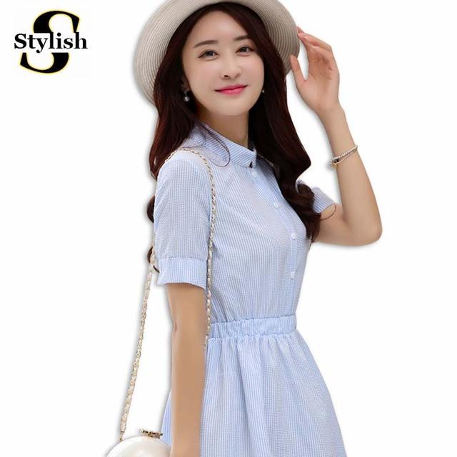 Shirt Dress Women Summer Dress 2017 Fashion Korean Female Short Sleeve White And Blue Striped Linen Casual Dresses For Ladies