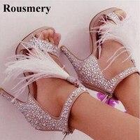 Phụ nữ Charming Hở Ngón Trắng Rhinestone Mắt Cá Chân Quấn Tua Cao Gót Sandals Cut-out Pha Lê Dép Giày Cưới Ăn Mặc giày