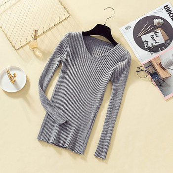 Pullover Knit Sweater Women 2019 Winter Clothes Women Jumper V Neck Soft Rib Knitted Winter Tops Knitwear Pull Femme Sweaters 3