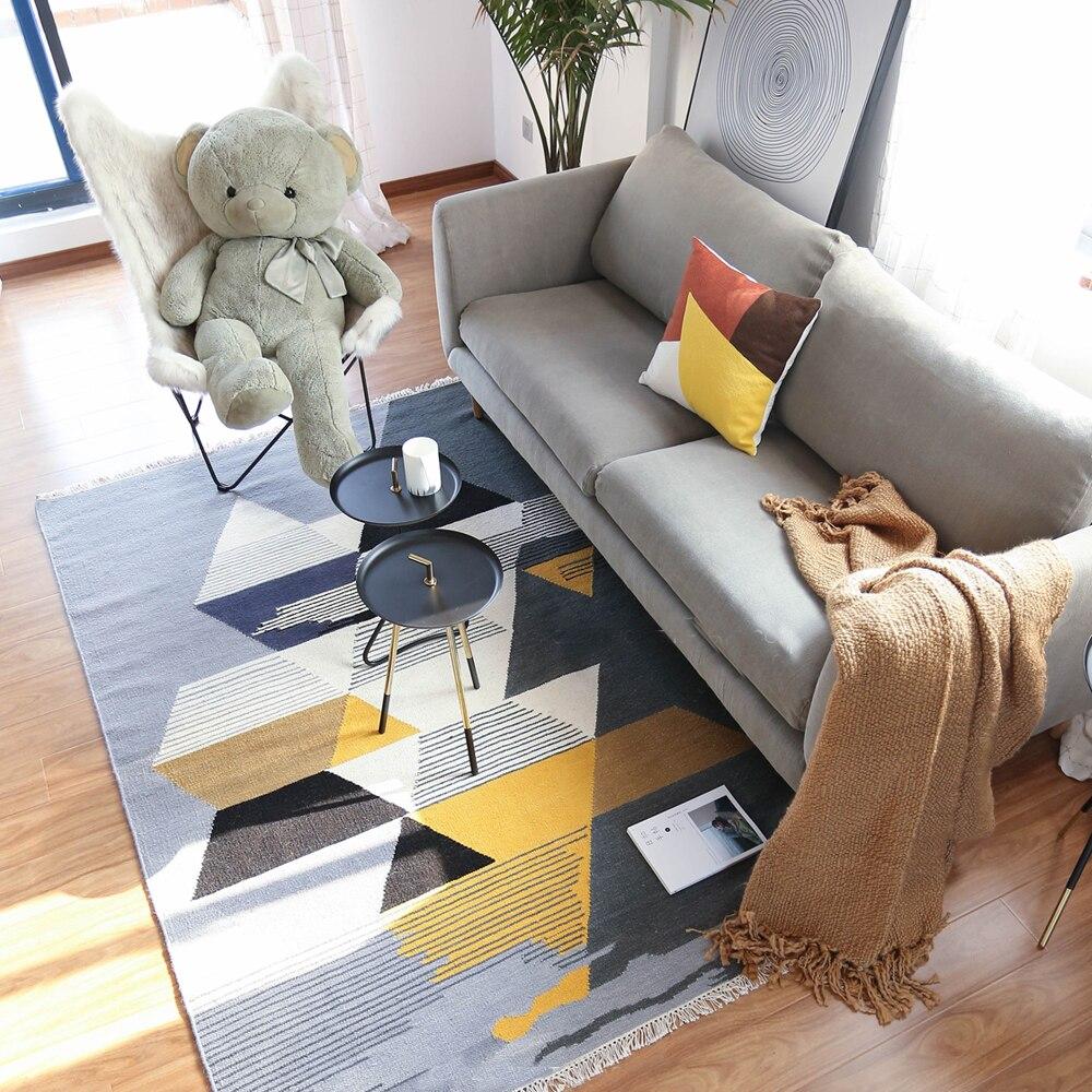 100% laine Kilim tapis géométrique bohême tapis indien plaid rose vert rayé moderne design contemporain Iran style nordique