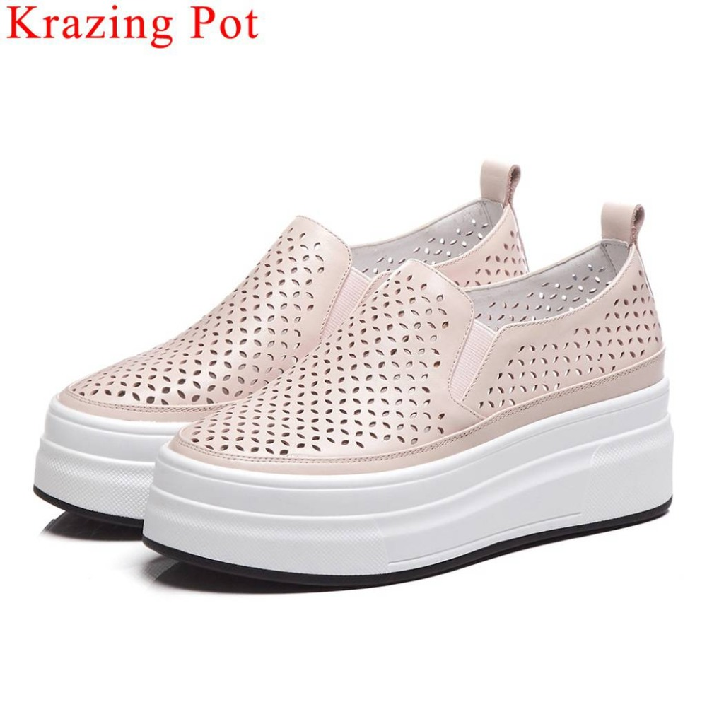 Krazing Pot artistic carving round toe slip on loafers full grain leather thick bottom flat platform