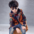 2015 new kids fashion boy woolen coat in children's British Wool Plaid Jacket