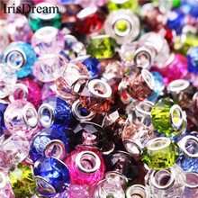 New 10PCS Lot Silver Cut Faceted Big Hole Loose Spacer Charms Crystal Glass Beads Fit Pandora Bracelet For DIY Jewelry Making 10pcs hot cut faceted color crystal glass beads fit european bracelet spacer original pandora charm bracelet for jewelry making