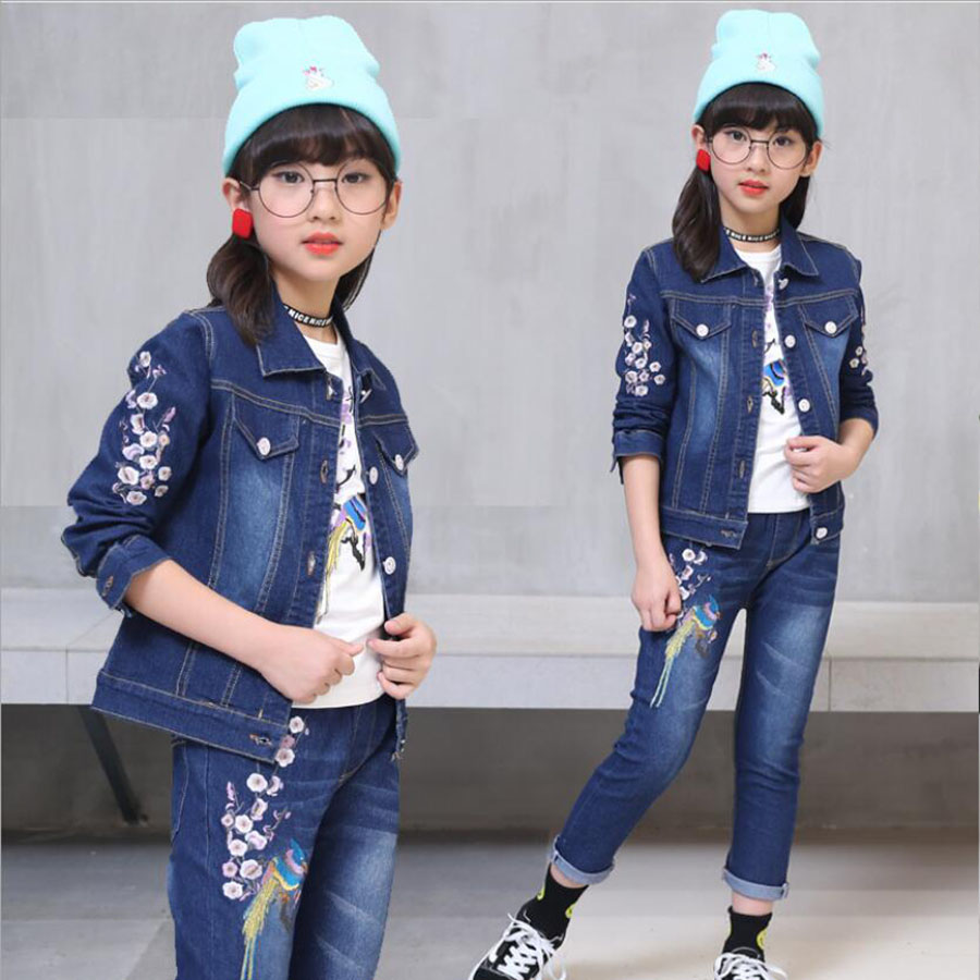 Children clothes baby girls outwear jeans sets child set fashion cowboy jacket spring autumn kids clothes set 5-15 Y girls coat 2016 fashion spring autumn girls suits brand designer flower children set sweatshirts coats jeans t girls 3 sets