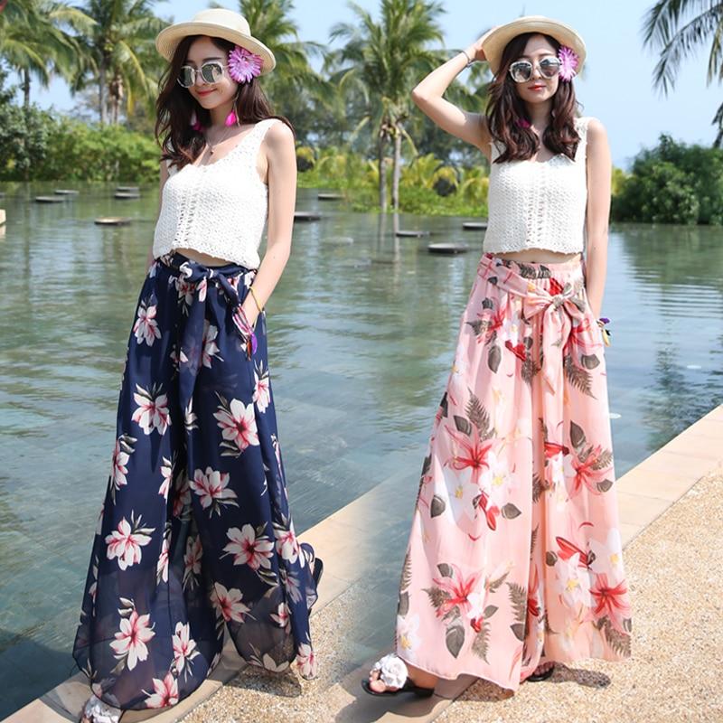 Loose Wide Leg Pants Women CHEAPEST Chiffon Bohemian Beach Casual Pants Flower Chiffon Trousers F2401 with Waist Belt