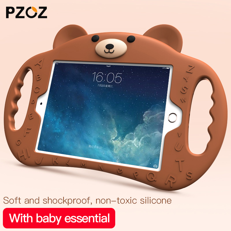 PZOZ silicone Lovely case For ipad 2018 2017 Air 1 2 Pro 9.7 Shockproof Kids Soft Non-toxic children case For iPad mini 1 2 3 4 protective abs silicone bumper case for ipad mini retina ipad mini purple transparent