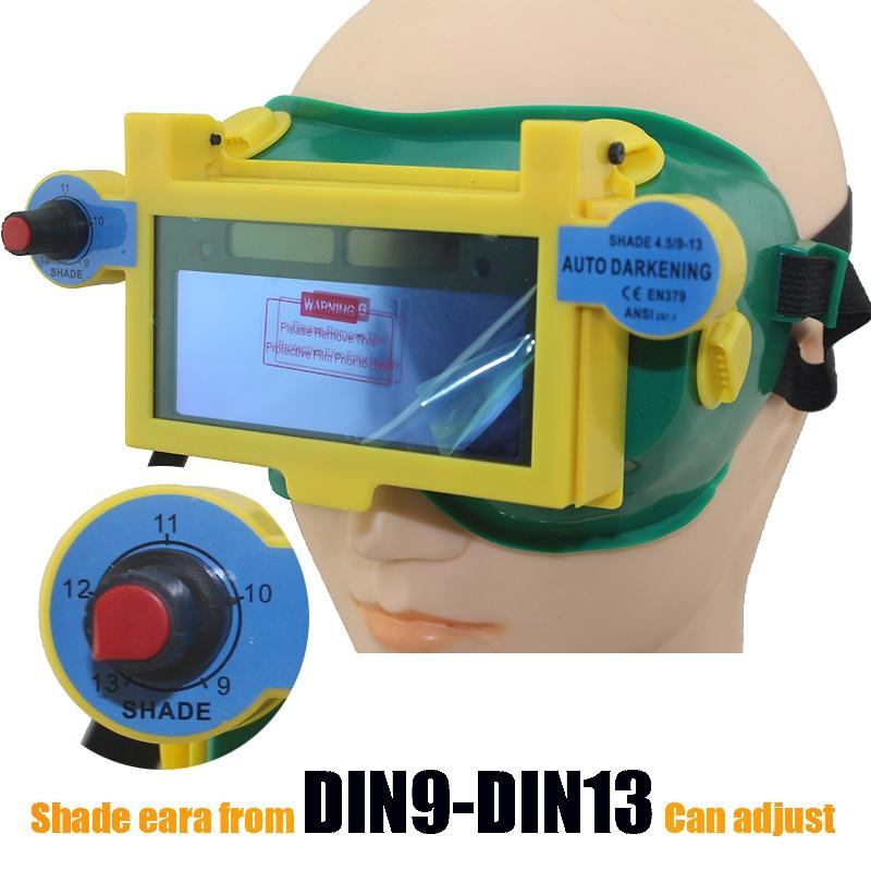 Solar auto dark shading DIN9-DIN13 welder eyes mask helmet eyes goggle/welder glasses for ARC TIG MMA MIG welding machine цена