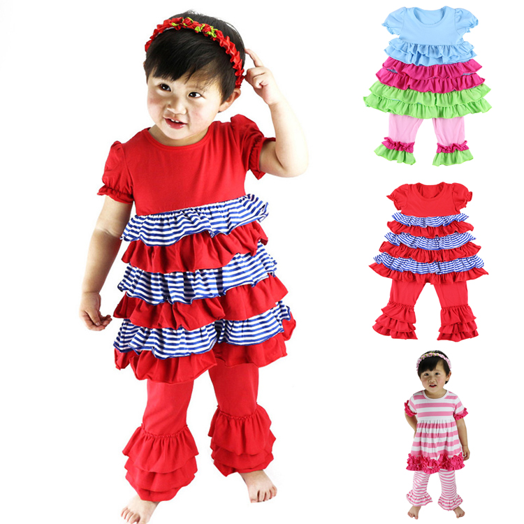 Little Ruffles Clothes Cotton Casual Short-sleeved T-shirt Dress+pants Suit Tracksuit Baby Girls Clothing Sets Free Ship