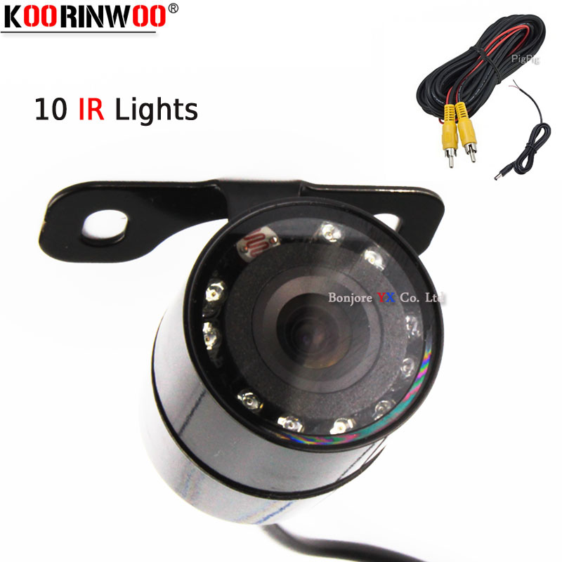 Koorinwoo 2020 HD CCD Vehicle 10 Infrared IR Lights Car Rear view camera Front Fort Cam Backup Accessory Panoramic Car detector
