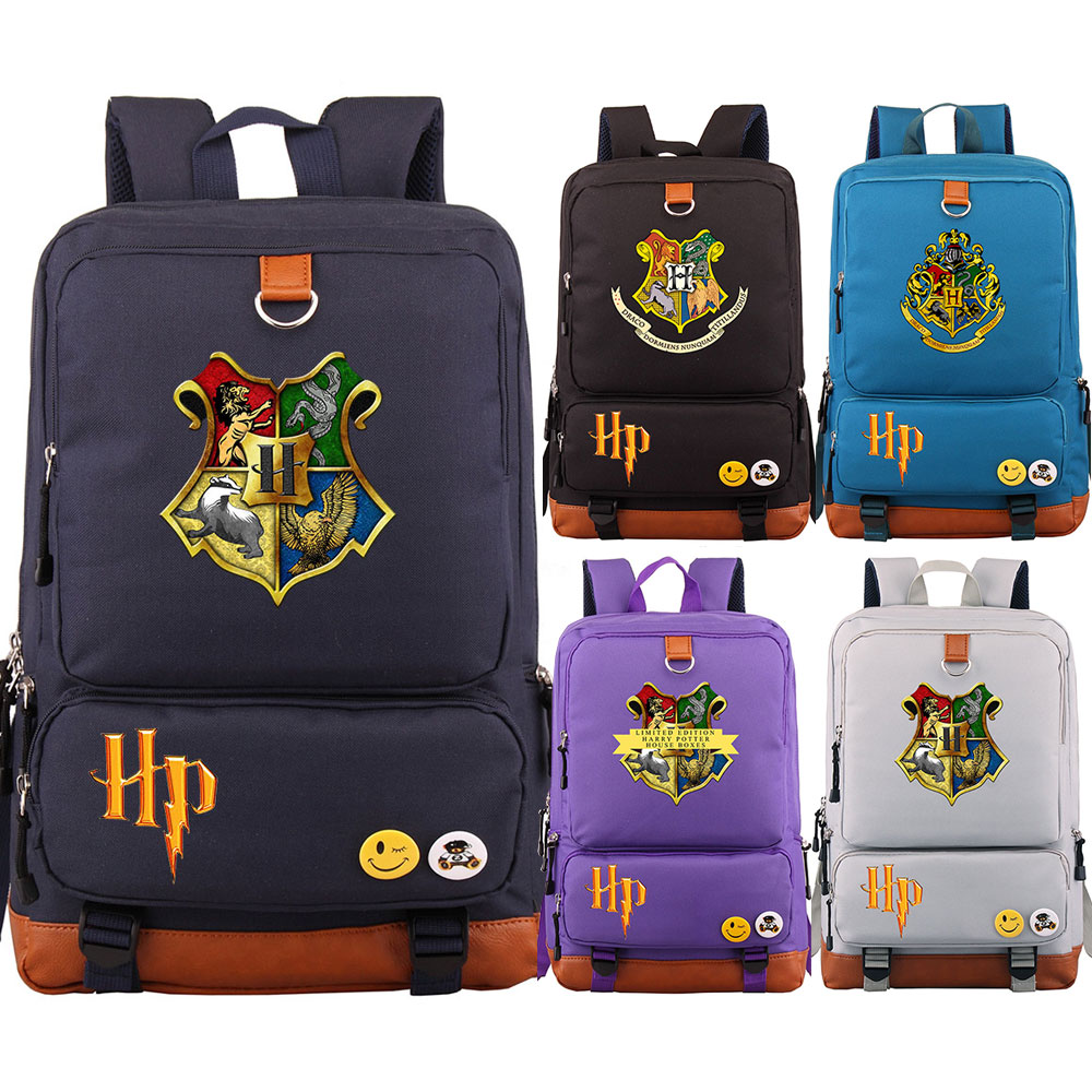 Magic Hogwarts HP Letter Badge Gryffindor Boy Girl School Bag Women Bagpack Teenagers Patchwork Canvas Men Student  Backpack