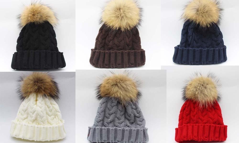Зимняя женская шапка Skullies Beanies, шапка из натурального меха енота с меховым помпоном 15 см для женщин и мужчин, шапка Skullies В Стиле Хип-хоп, Русская Шапка