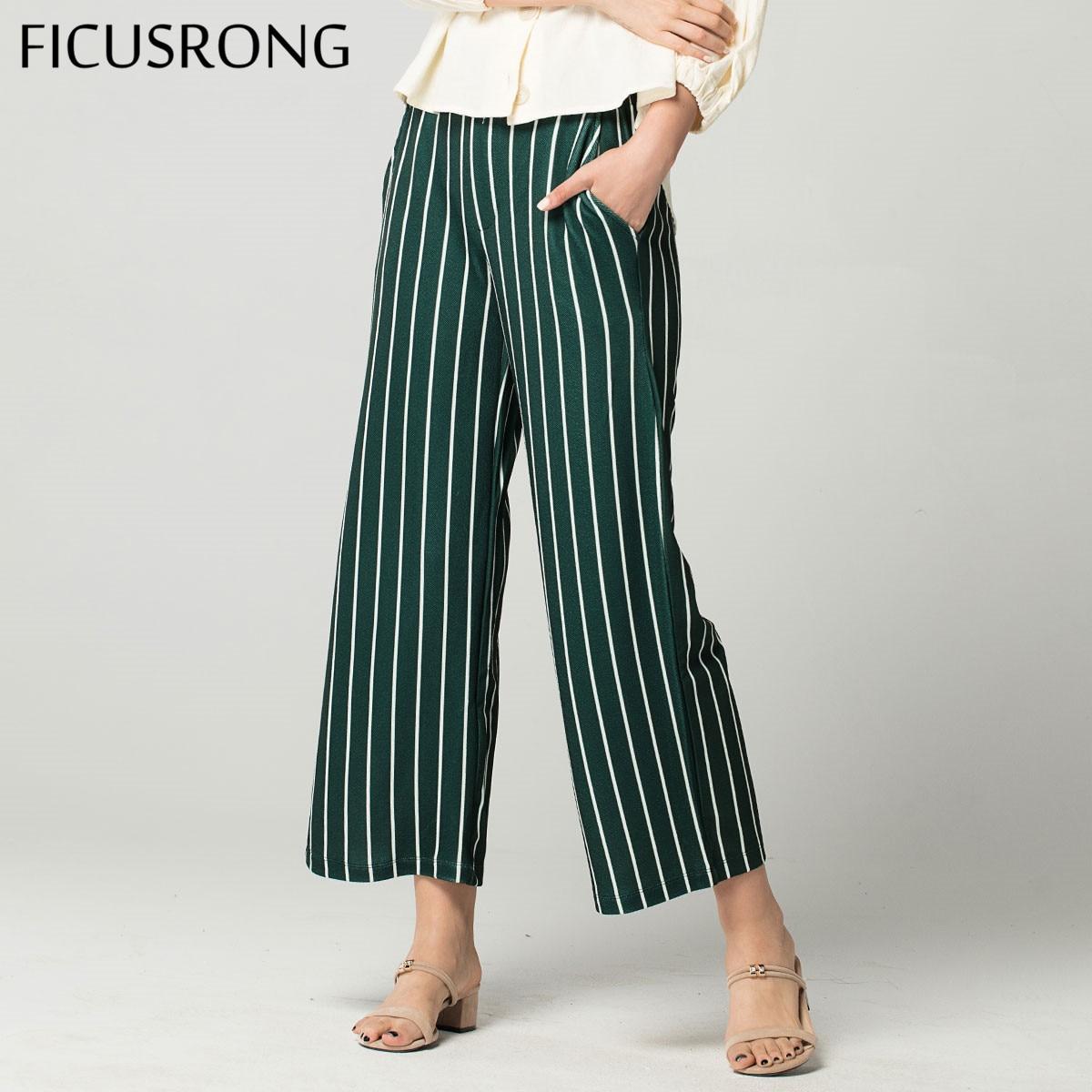 Women Fashion Summer Loose Ankle-Length   Pants   Casual   Wide     Leg     Pant   Female Green Stripe Elastic Waist Trousers FICUSRONG