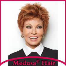 Medusa hair products: Modern pixie cut style Synthetic pastel Lace front wigs Short brown wig with bangs Peruca curta SW0266A