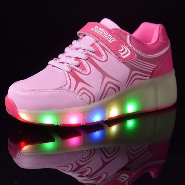 Diodo emissor de luz shoes da menina e do menino das crianças única rodada de adulto automático roda shoes