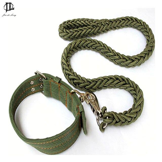 53f0bc83d450 Gran calidad ajustable perro Collares y correa Sets clásico verde del  ejército nylon Telas perro ocho