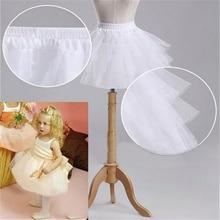 Детские юбки для девочек с цветочным узором; белые свадебные аксессуары; 3 слоя; без обруча; короткая кринолиновая Нижняя юбка