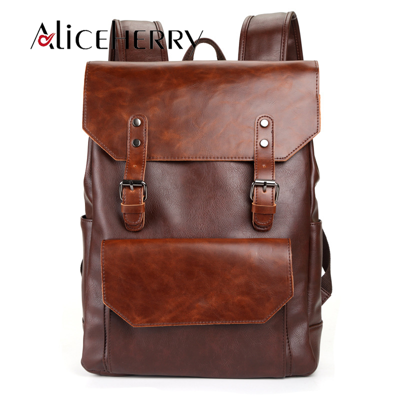 Vintage Leather College Style School Backpack Men Women Travel Business Laptop Leisure BagsVintage Leather College Style School Backpack Men Women Travel Business Laptop Leisure Bags