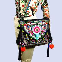 2 usage Vintage Hmong Tribal Ethnic Thai Indian Boho shoulder bag messenger purse hobo tote bag for women embroidery , SYS 558