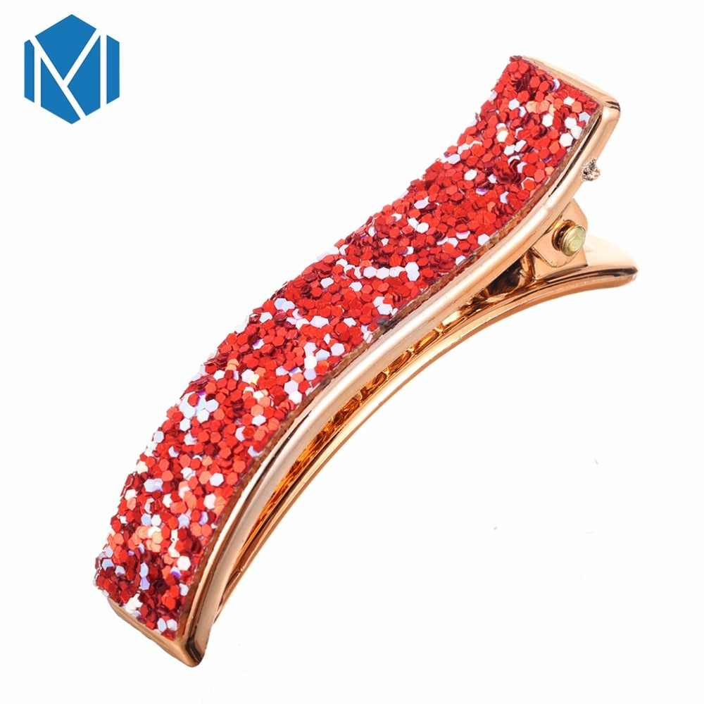 1PC Sequin Barrettes For Women Retro French Hair Clips Party Daily Life Metal Color Romantic Shinning Hairgrip Hair Acessories