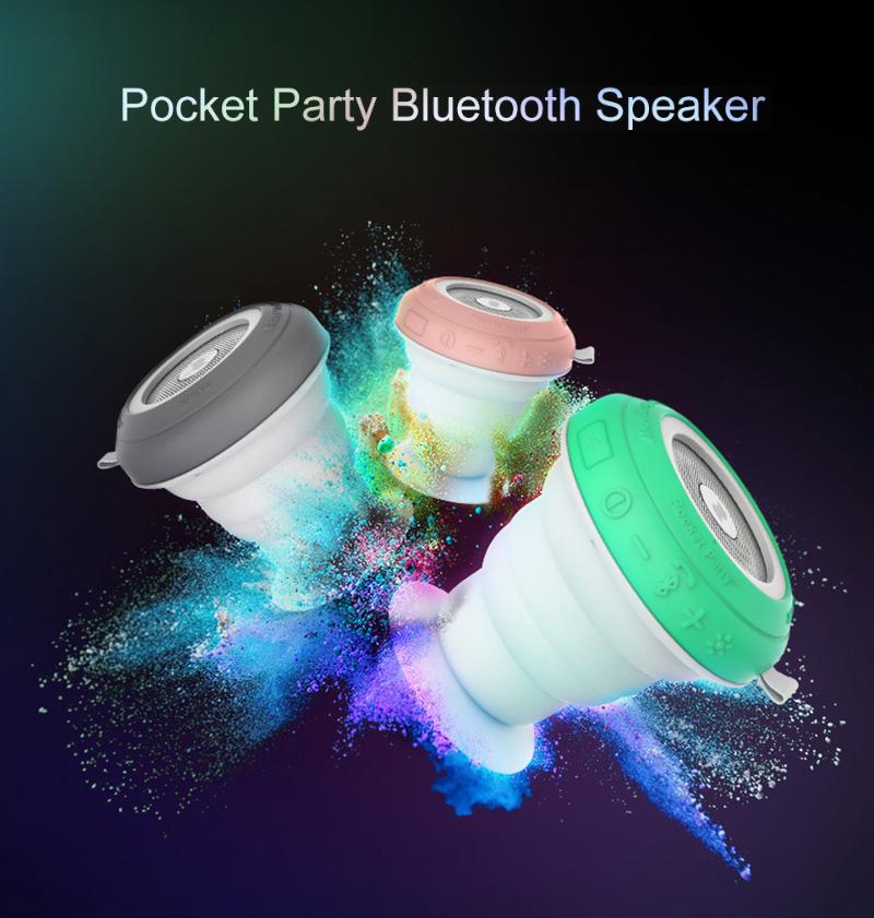 Prix pour ROCK Pocket Party Bluetooth Haut-Parleur avec Coloré Led Lumière Profession Mini Haut-Parleur Portable Forte Basse Audio lecteur